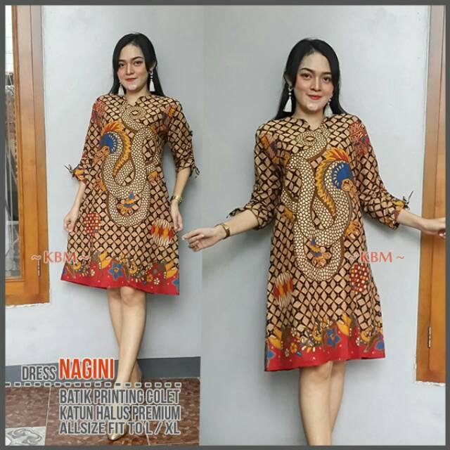 Dress Kantor Batik Nagini Tunik Wanita Berhijab Dress Modis