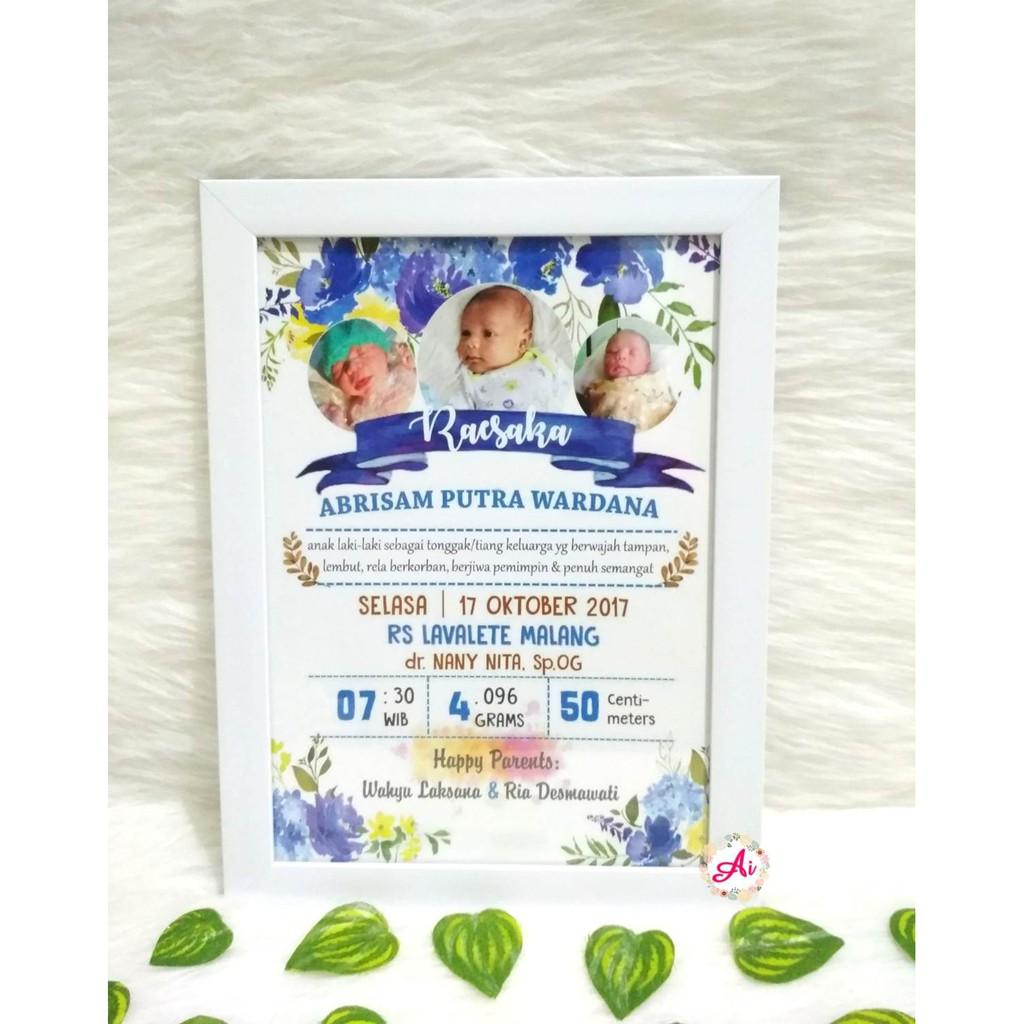Frame Biodata Bayi Kado Data Bayi Hiasan Dinding Pigura Profil