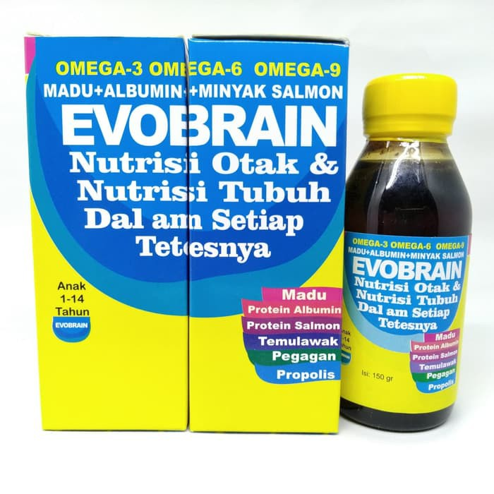 Evobrain / Evo Brain - Madu Albumin Minyak Ikan Salmon Omega 3 6 9 | Shopee