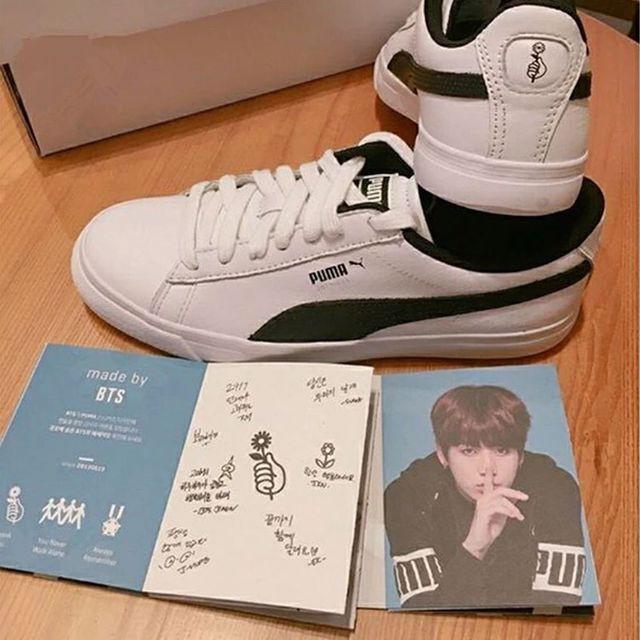timeless design 30ef9 81e44 100%Original BTS X Puma Court Star Sepatu Putih sepatu Pasangan Leis COURT  STAR shoes