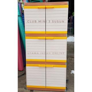 restock Lemari pakaian / lemari plastik / MINI CLUB 3 susun rk551