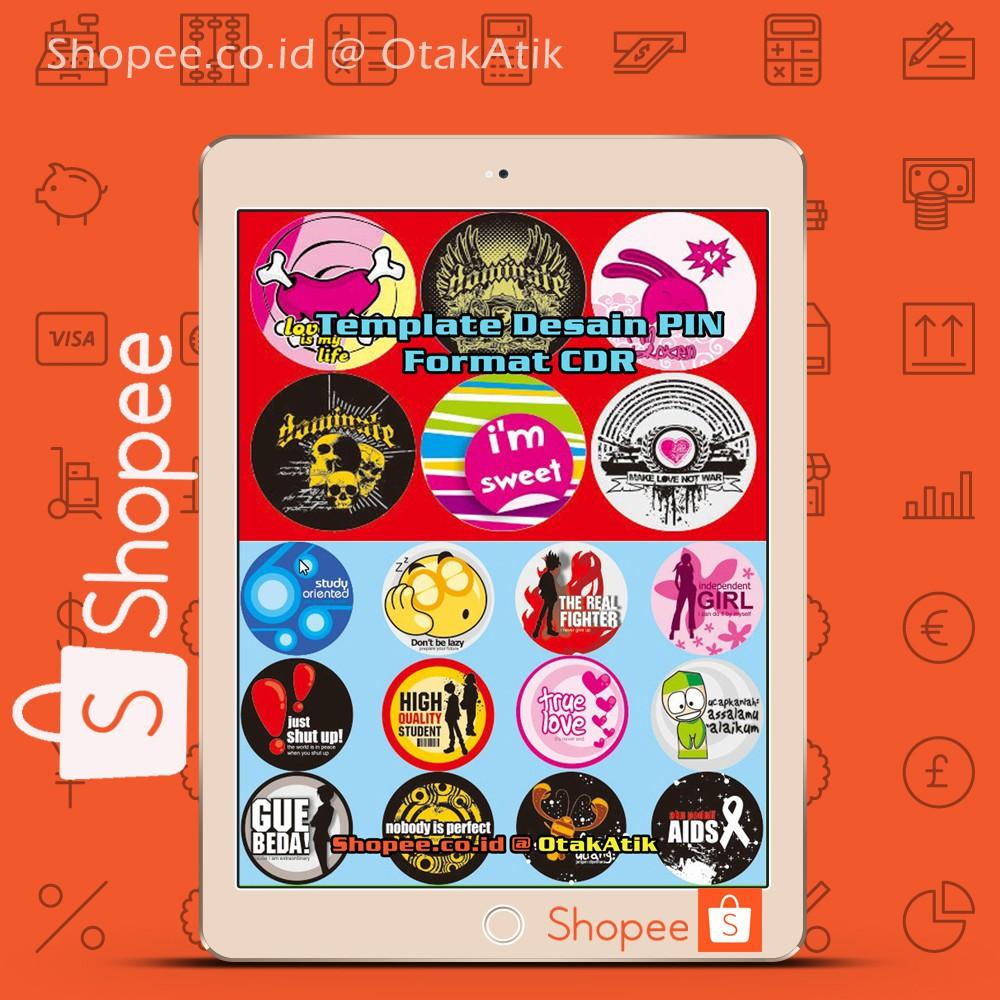 Template Desain PIN Format CDR Segala Kategori Karakter