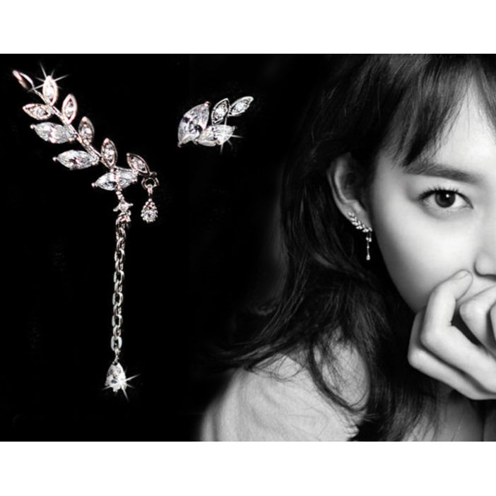 Anting Korea Daun Asimetris Asymmetric Leaf Clip Dangle Earring Beauty | Shopee Indonesia