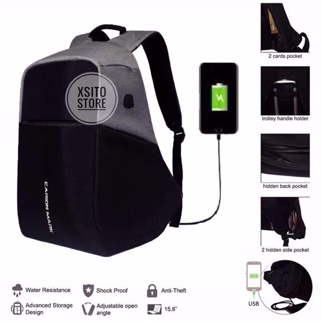 Bds Tas Ransel Pria   Wanita Kapasitas Besar dengan Charger USB untuk  Sekolah   Santai   Laptop  d159a2aa51