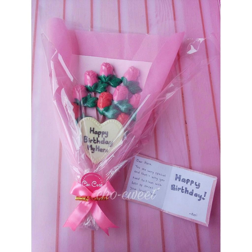 Coklat Buket Bunga 12 Terbuat Dari Coklat Bisa Dimakan Tulisan Custom Enak Halal Murah Shopee Indonesia