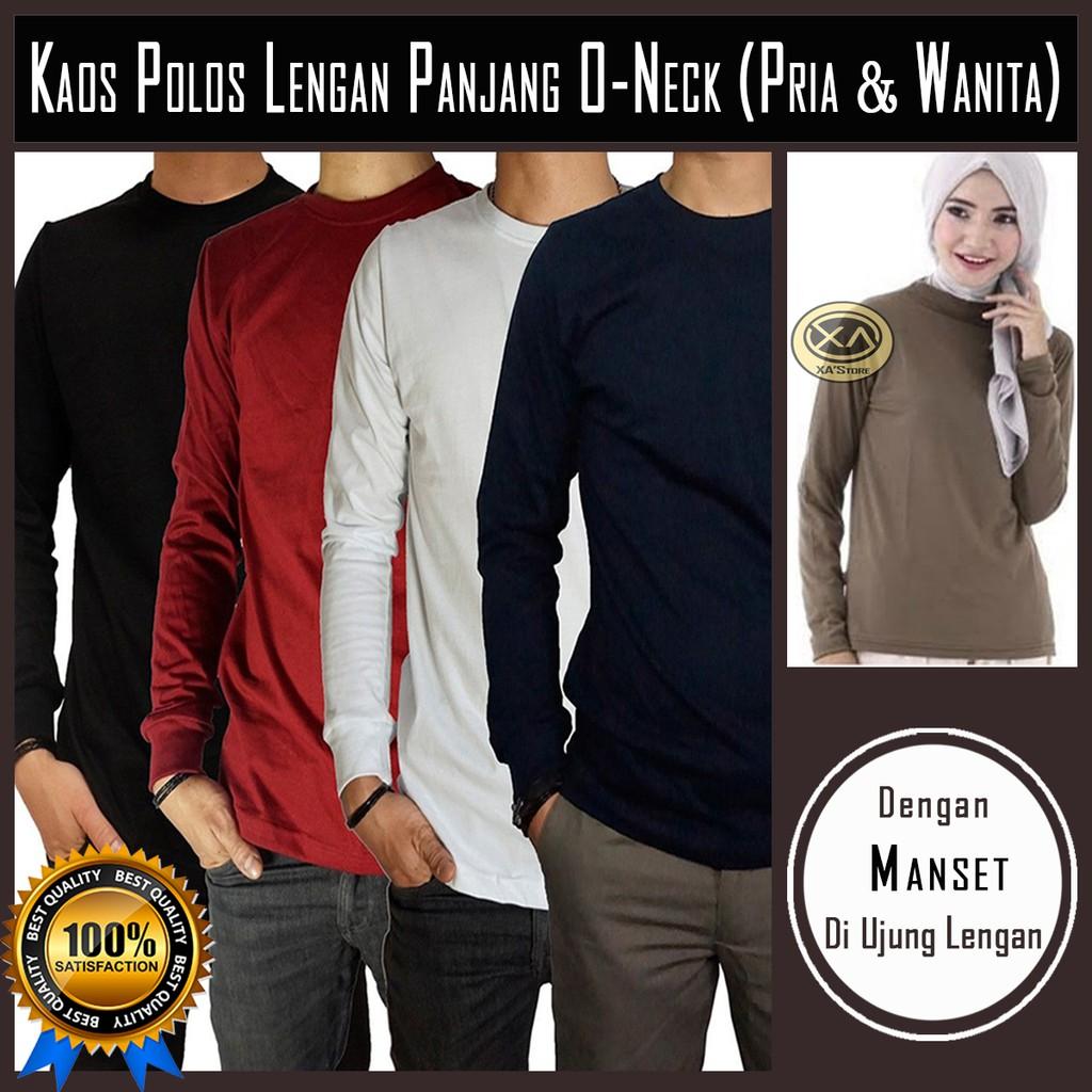 Kaos Polos Lengan Panjang Dengan Manset Unisex O Neck Soft Cotton Size Xl Combed 20s M Ml L Xxl