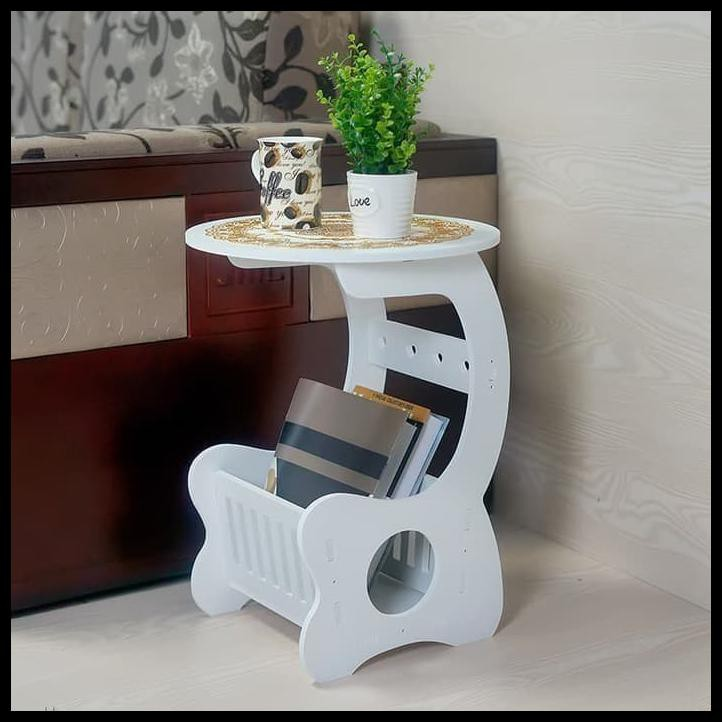 Small Round Coffee Table Meja Kopi Bulat Samping Sudut Furniture Kayu Shopee Indonesia