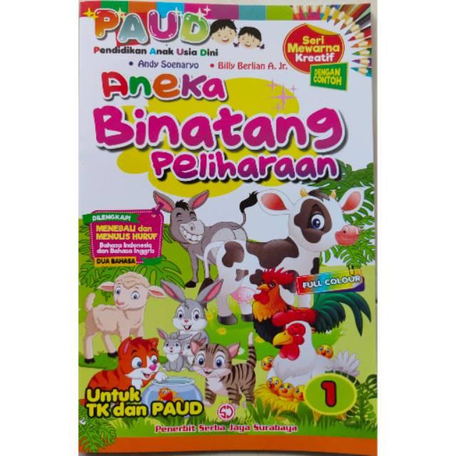 Buku Mewarnai Anak Paud Mewarna Kreatif Aneka Binatang Peliharaan Menebali Dan Menulis Huruf Shopee Indonesia