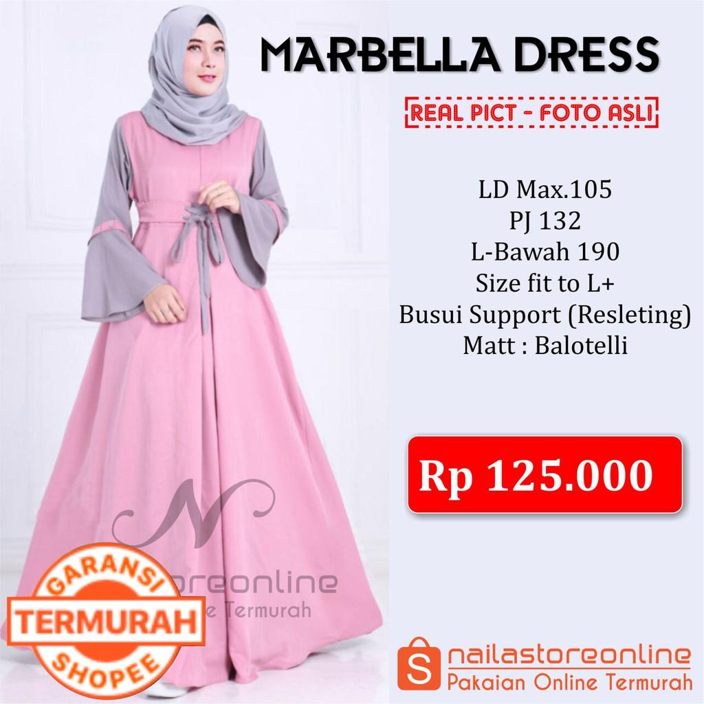 Baju Muslim Murah Pakaian Wanita Hijabers Marbella Dress Hijab Gamis Syari  Balotelli  d958e2defc