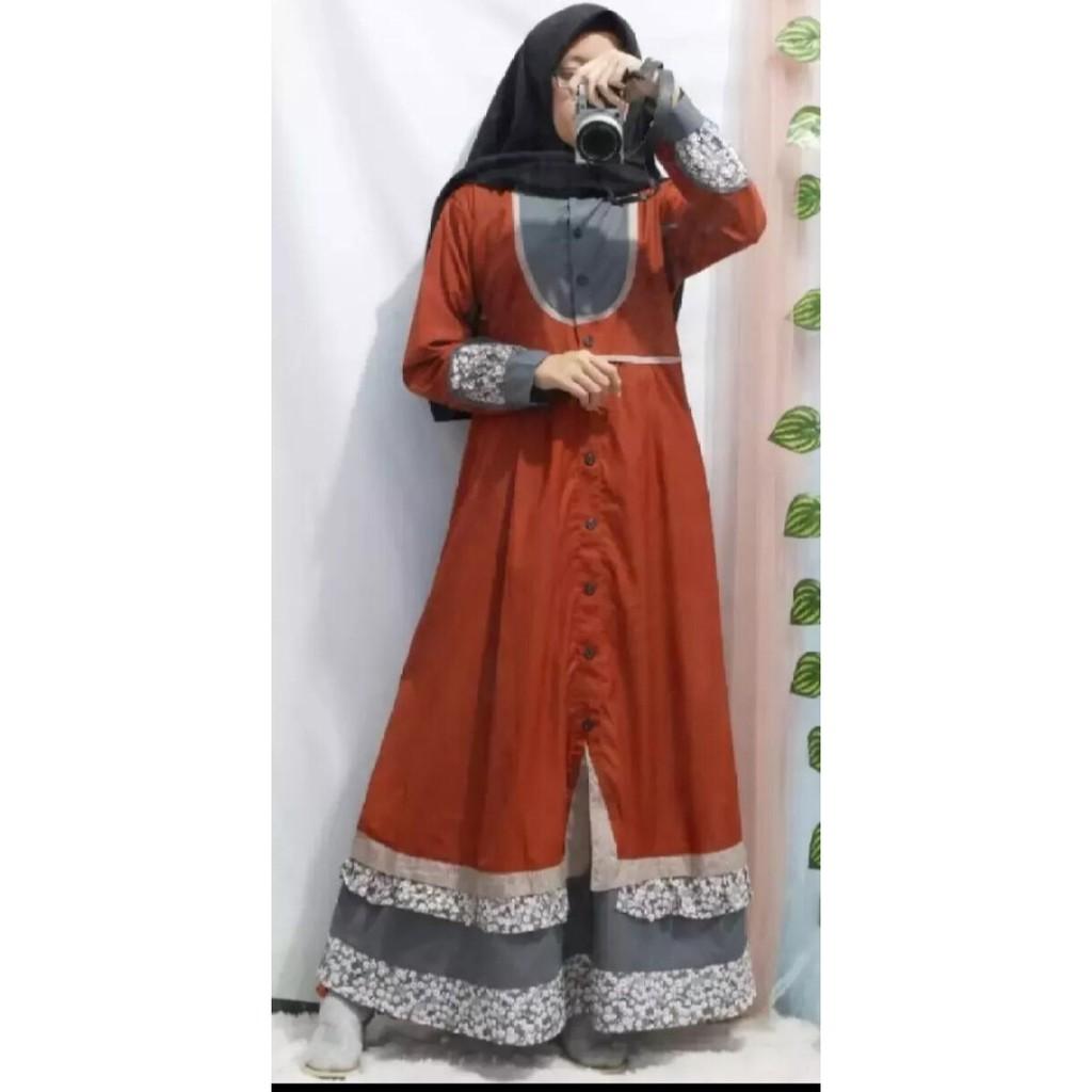 Baju Gamis Tunika Busana Muslimah Wanita Bahan Katun Toyobo Terbaru  Terlaris Termurah Warna Bata