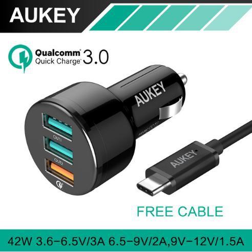 SUPER SALE - [ORIGINAL] AUKEY CAR CHARGER 3 USB PORTS QUICK CHARGER 3.0,