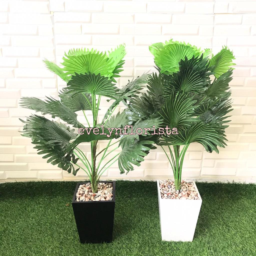 Pohon Palem Kipas Artificial Pohon Daun Palem Kipas Plastik Hijau Pot Tanaman Artifisial Murah Shopee Indonesia