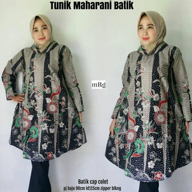 Batik Tunik Modern Jumbo Lengan Panjang Pesta Kondangan Model Terbaru 2018