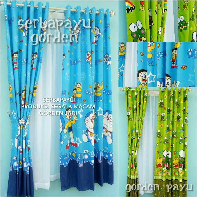Dekorasi Kamar Anak Gorden Doraemon Dan Keropi Model Smokering Tirai Jendela Pintu Rumah Shopee Indonesia