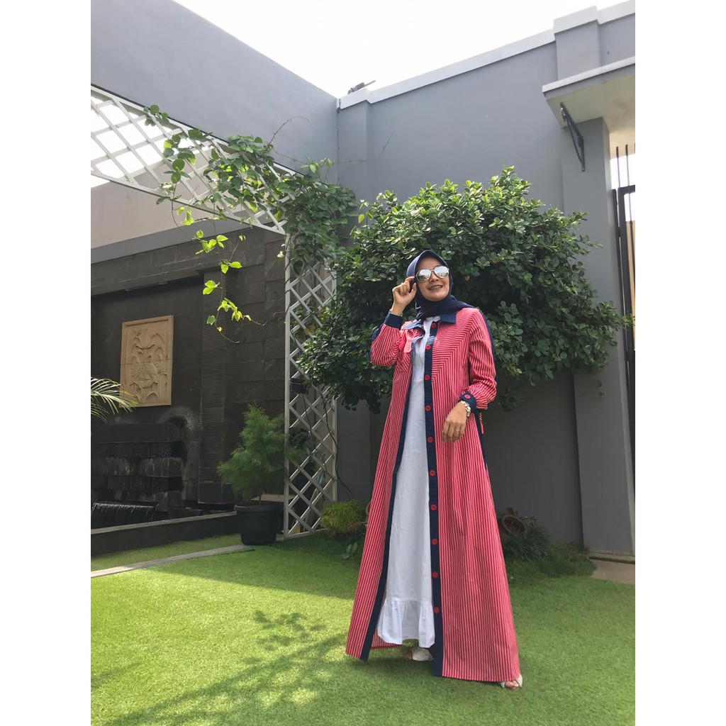 Baju Muslim Wanita - Dress Aliya - Gamis Zalifa - Merah list Navy