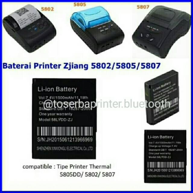 Baterai Printer Bluetooth Bergaransi Shopee Indonesia