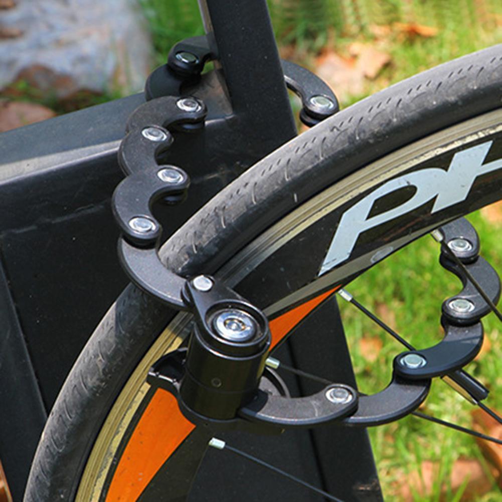 RockBros Safety Bike Lock Bicycle Motorcycle Folding Chain Hamburg Lock Black
