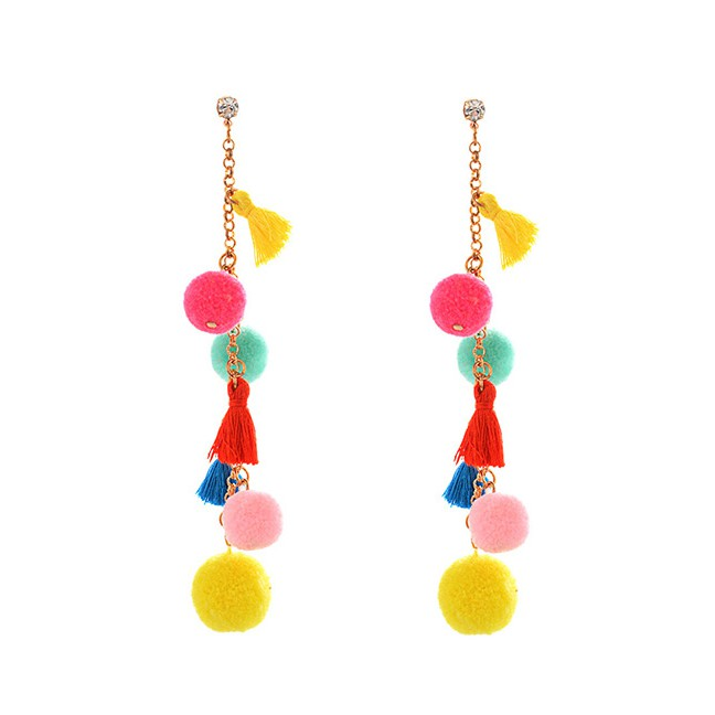 ... Pure Color Decorated Earrings Terbaru. Source · LRC Anting Jepit Lovely Fuzzy Ball Decorated Pom Ear Clip | Shopee Indonesia