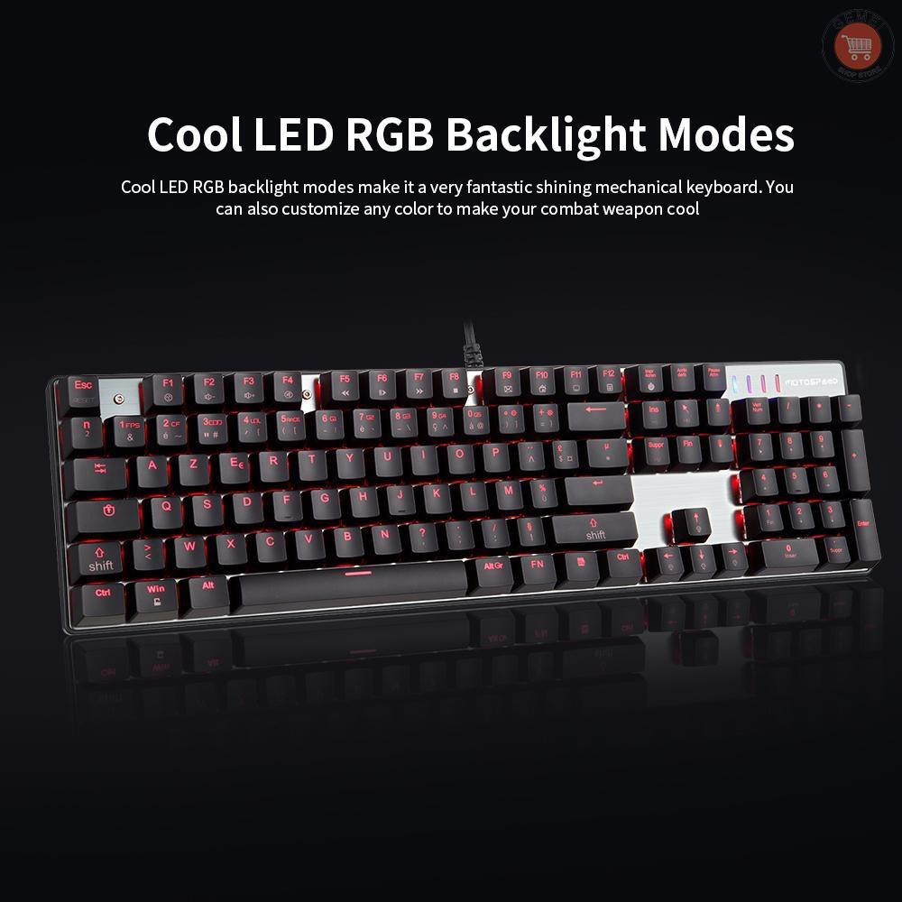 G M Motospeed Ck104 Mechanical Gaming Keyboard 104 Keys Usb Wired Keyboard With Colorful Backlight Shopee Indonesia