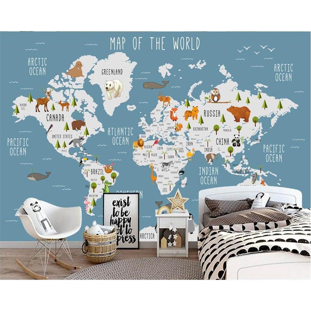Wallpaper Gambar Kartun Peta Dunia 3D Ukuran 1 5 0 8m Untuk Kamar Anak
