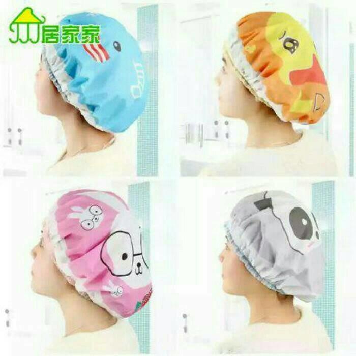 Shower Cap Karakter / Topi Mandi / Penutup Kepala Anti Air Rambut | Shopee Indonesia