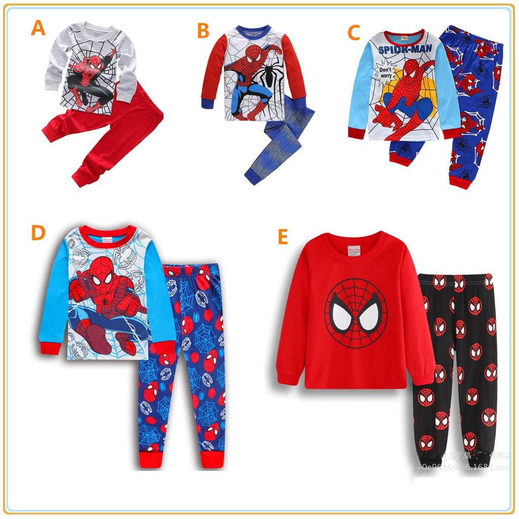 2pcs Set Baby Kids Boys Outfit Spiderman Cartoon Shorts Pajamas Sleepwear Casual Kids Boys Clothing Sizes 4 Up