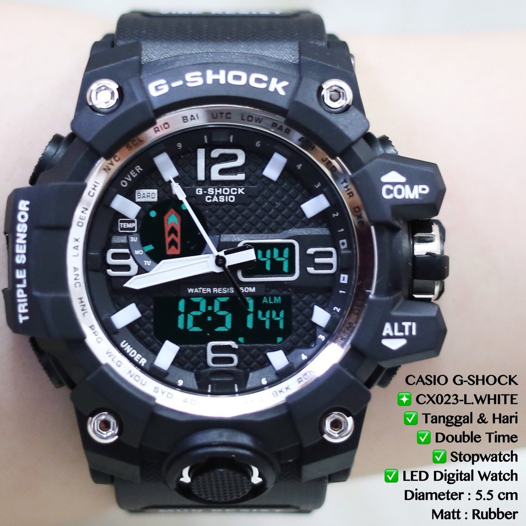 Jam Tangan Pria G Shock Gwg 1000 Gshock Digital Double Time Rubber Tanga Expedition 6631 Hitam Triple Original Shopee Indonesia