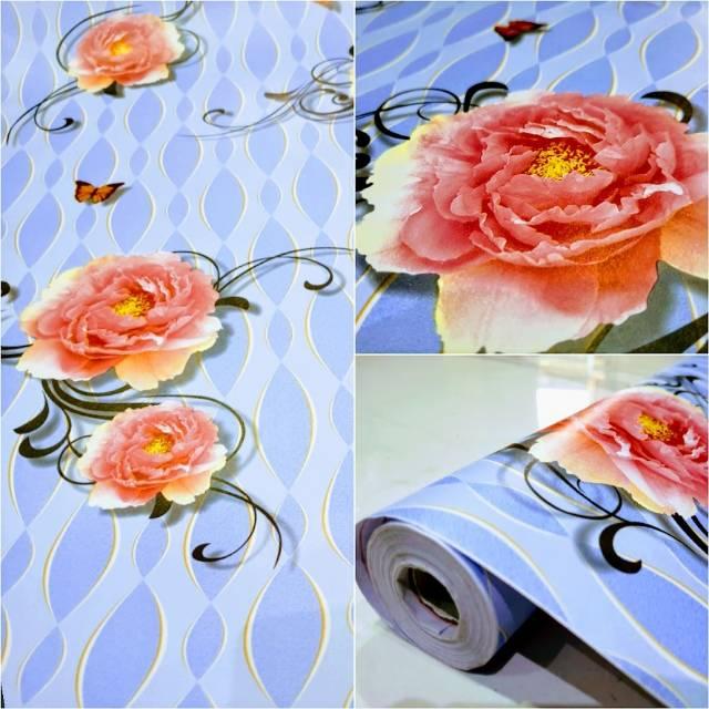 Wallpaper Sticker Dinding Murah Biru Motif Lingkaran Cekung Bunga Mawar Cantik Shopee Indonesia