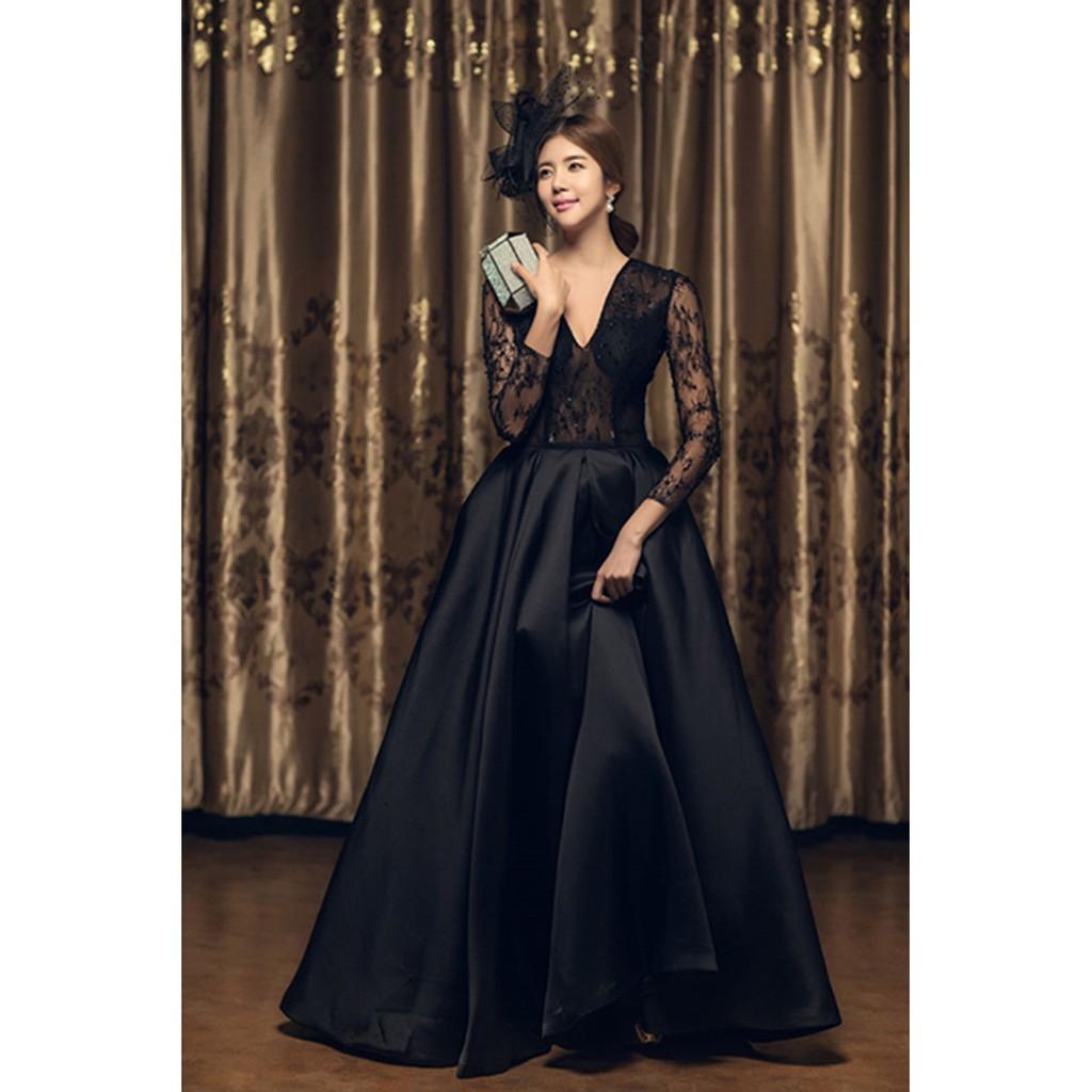 1706031 Hitam Ekor Gaun Pengantin Wedding Gown Wedding Dress Shopee Indonesia