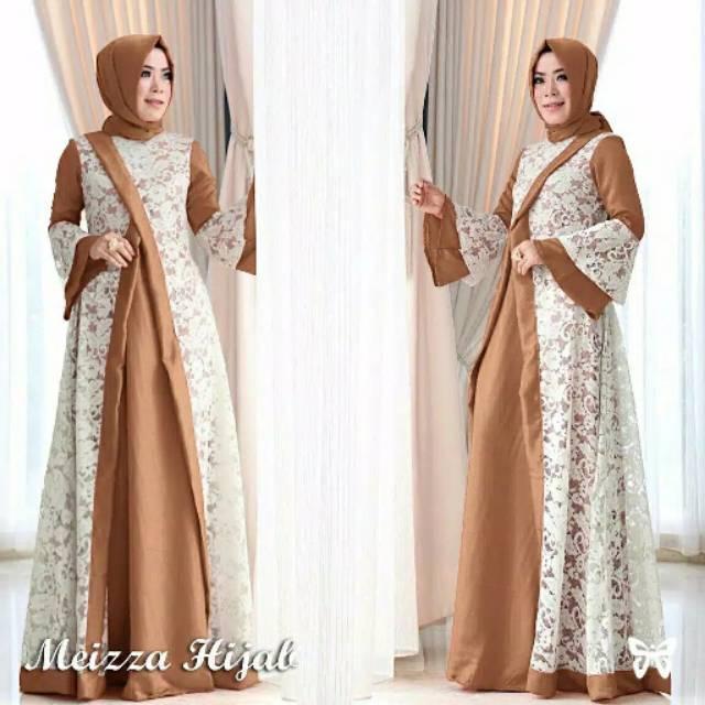 Meiza Gamis Brukat Pesta Setelan Hijab Pashmina Baju Muslim Wanita Bisa Ukuran Jumbo Big Size Besar Shopee Indonesia