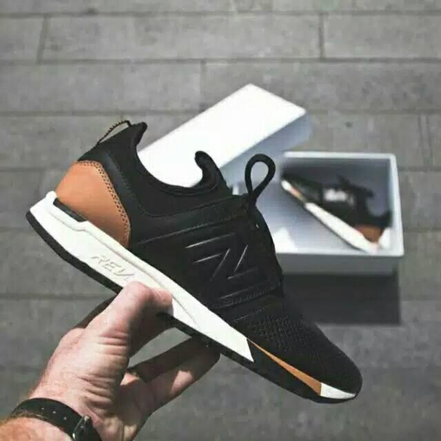 Sepatu New Balance 247 Luxe Leather Black Brown