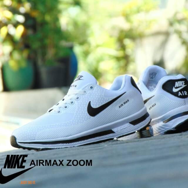 Sepatu Nike Airmax Zoom GRADE ORI Full White Putih Sport Casual Pria Wanita   66ce59e592