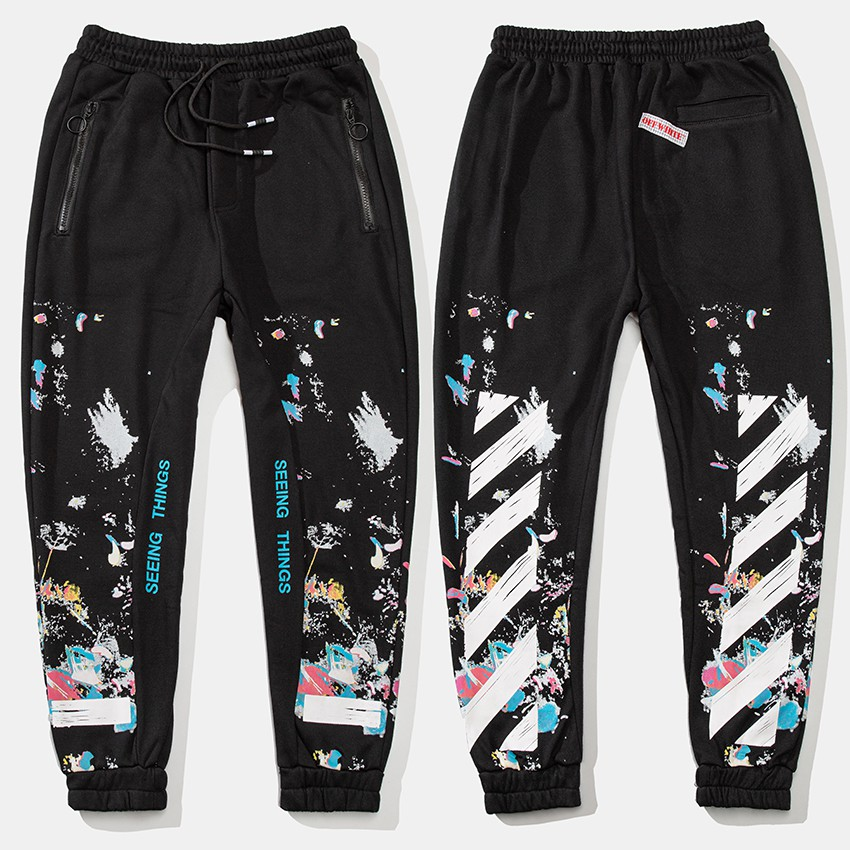 Luluma Off white Fireworks retro Joggers Elastic band hip-hop ...