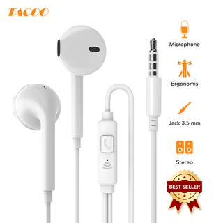 Tacoo Earphone In-Ear Gaming Headset Handsfree Superbass Bass Stereo + Mic Microphone White