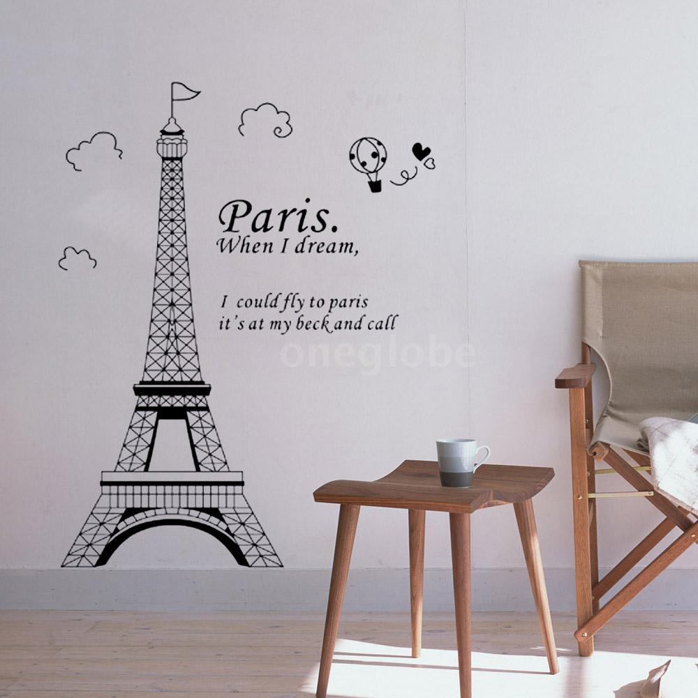 O & G Stiker Dinding Gambar Pemandangan Menara Eiffel Paris Romantis