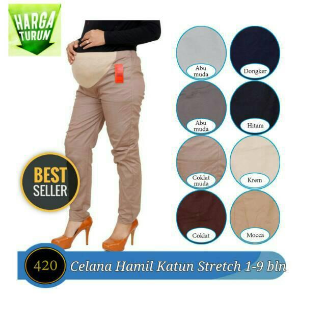 Celana Panjang Ibu Hamil 1 9 Bulan Katun Stretch Elastis Celana Hamil Ca420 Shopee Indonesia