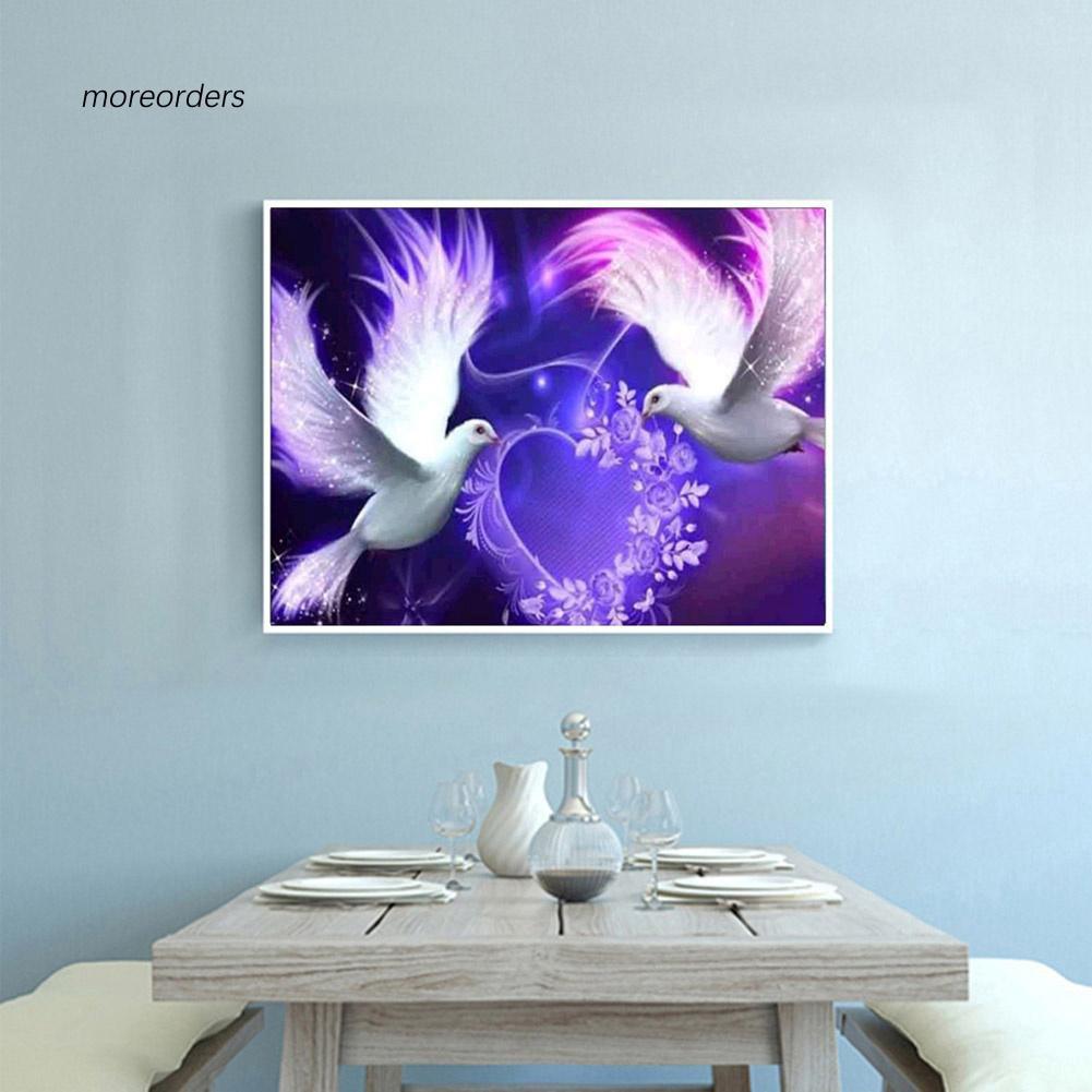 Diy Lukisan Diamond 5d Dengan Gambar Burung Merpati Dan Hiasan