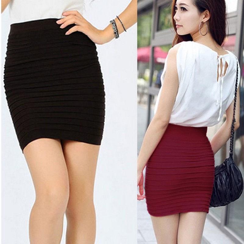 0570b998a7ce49 Pakaian Wanita  Model Ketat Motif Lipatan dengan Rok Mini Pendek ...