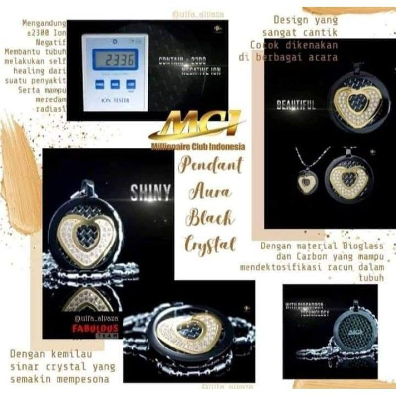 kalung aura heart black crystal original segel mci