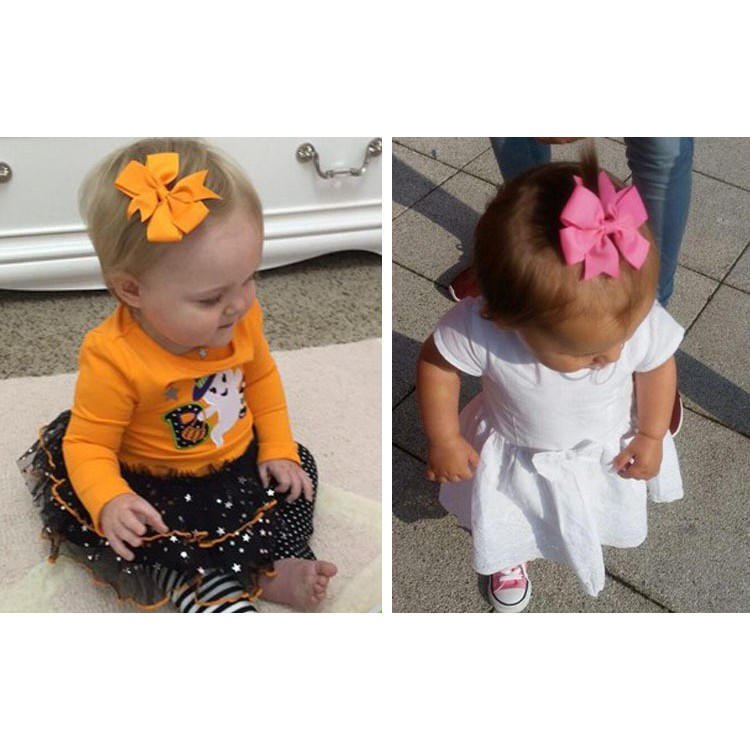 Baby Flower Bows Hairpin hair Clip Nylon Baby Barrettes Kids Girl Colorful n