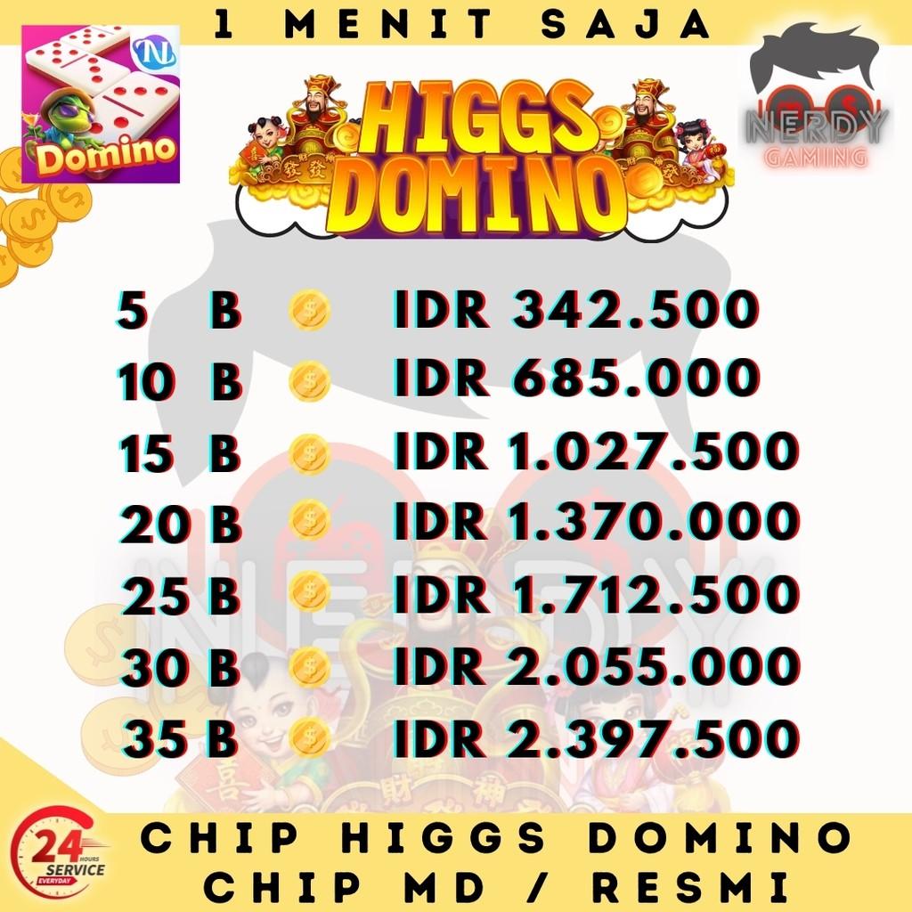 Chip Higgs Domino Chip MD Ungu Koin Domino Higgs Island Top Up Chip Domino Murah Cepat - Jakpot