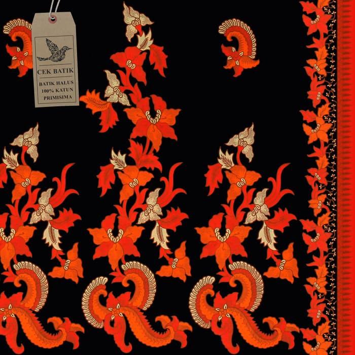 Kain Motif Batik Bunga Kraton Kombinasi Warna Hitam Orange B1