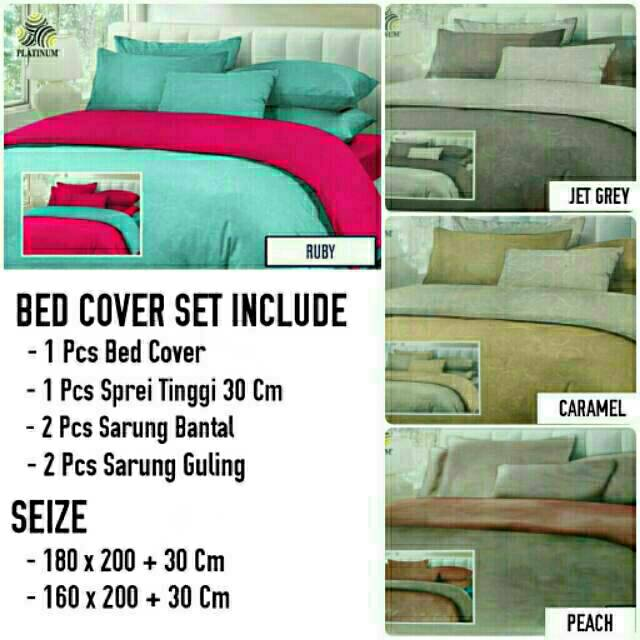 Bed Cover Set King 180x200 Queen 160x200 Jacguard Emboss Micx 2