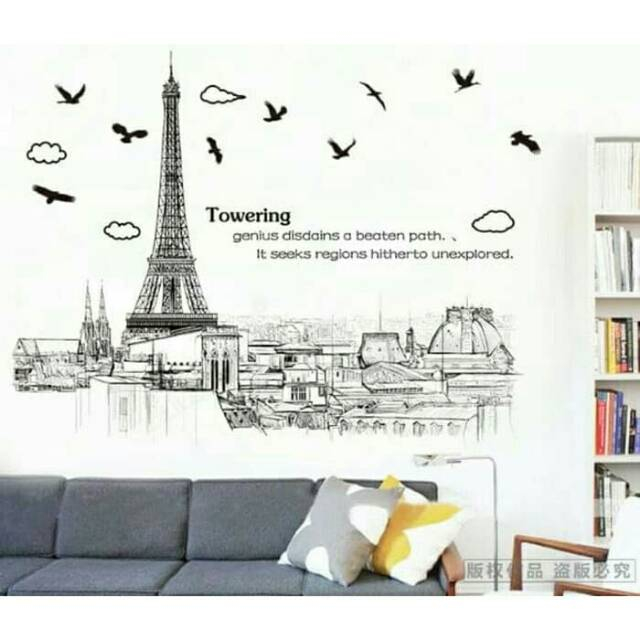 Wall Sticker Stiker Dinding Dekorasi AM9258 Sketsa Paris | Shopee Indonesia