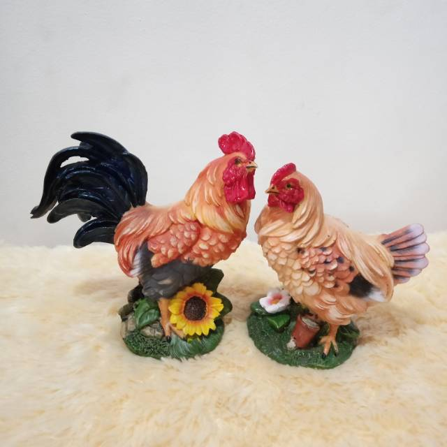 Patung Pajangan Ayam Jantan Betina S2 Shopee Indonesia