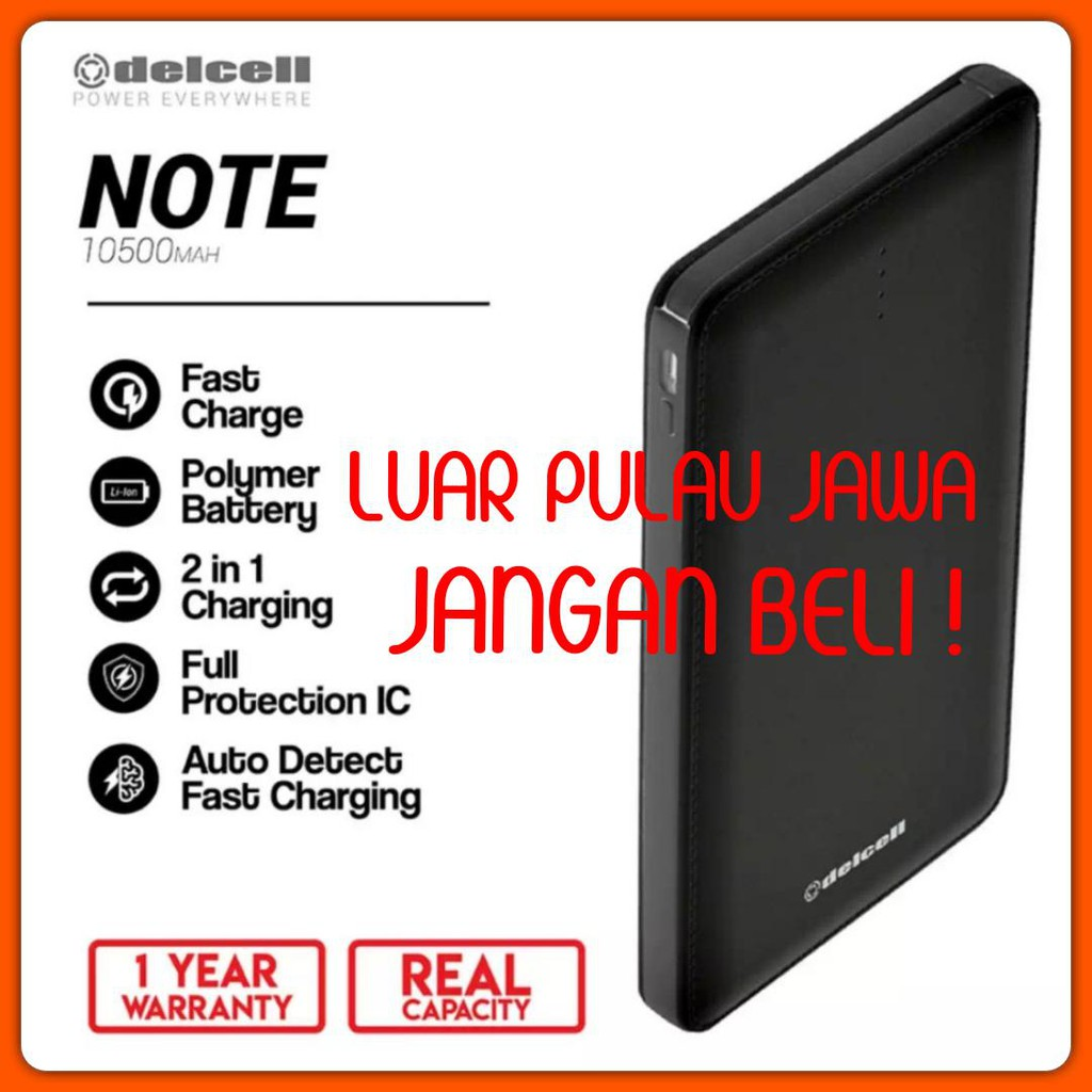 Delcell Note 10500mah Original Powerbank 10500 Mah Twee 4000mah Real Capacity Garansi Resmi Shopee Indonesia