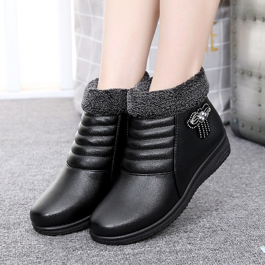 ❀▽Taiping Wolf soft skin bottom mother cotton shoes old Beijing snow boots man flat middle-aged wo