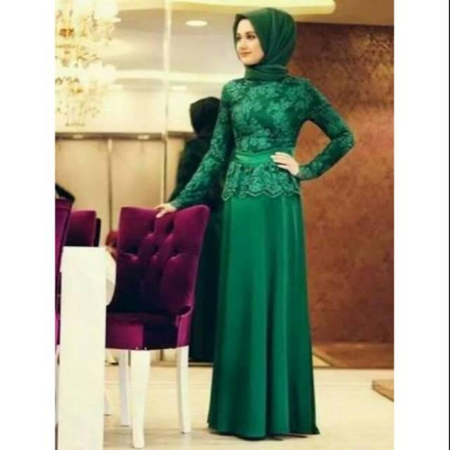 Gaun Abaya Maxi Dress Gaun Pesta Brokat Satin Kaftan Modern Gaun Brokat Hijau