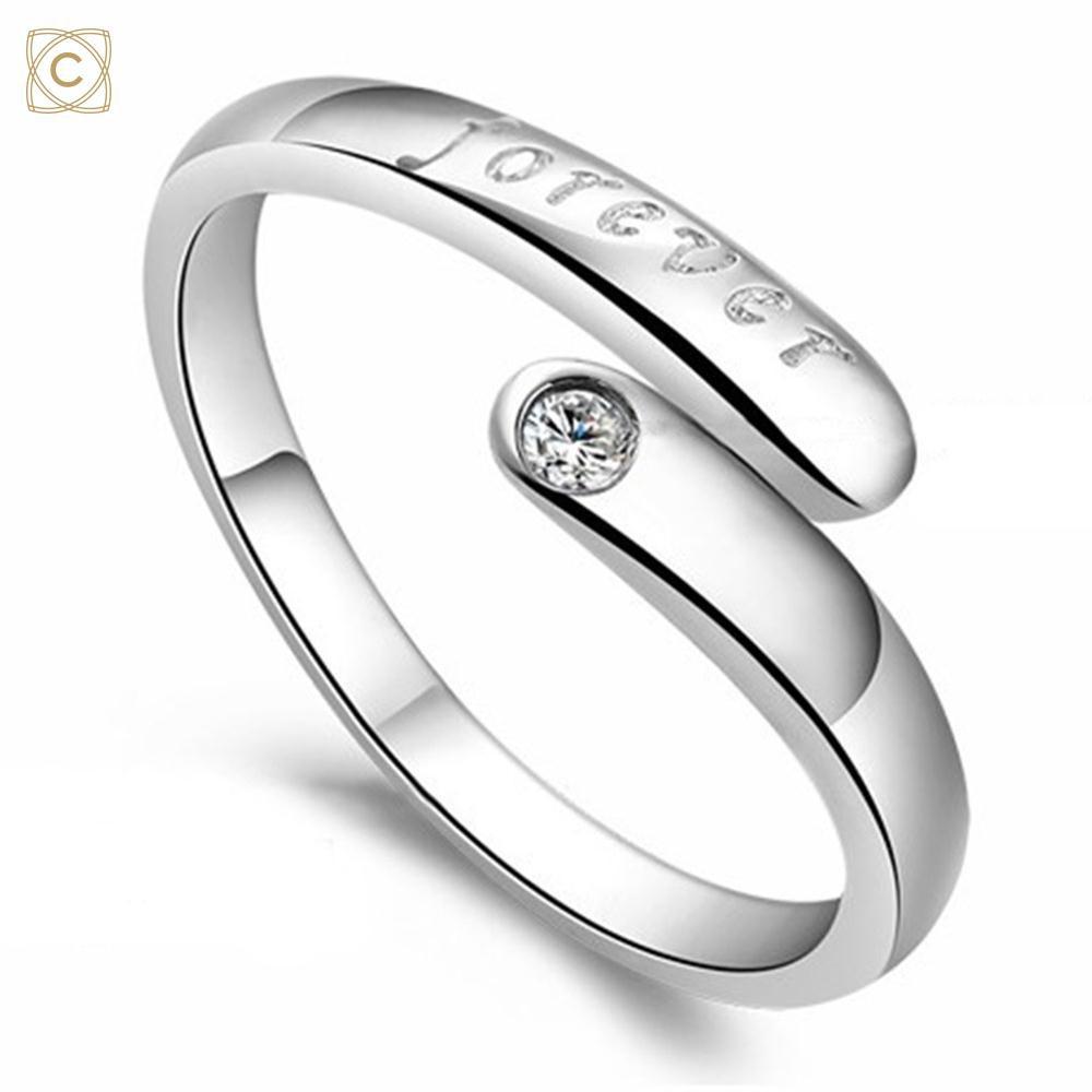 Cincin Titanium Steel Motif Huruf Hias Zircon Warna Ros Gold untuk Pasangan Pria/Wanita |