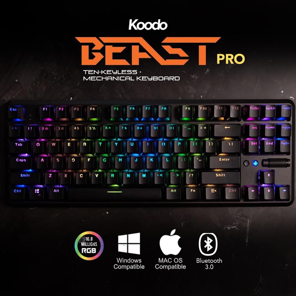 Koodo Beast Pro Mechanical Keyboard Tkl Tenkeyless Bluetooth Gateron Red Shopee Indonesia